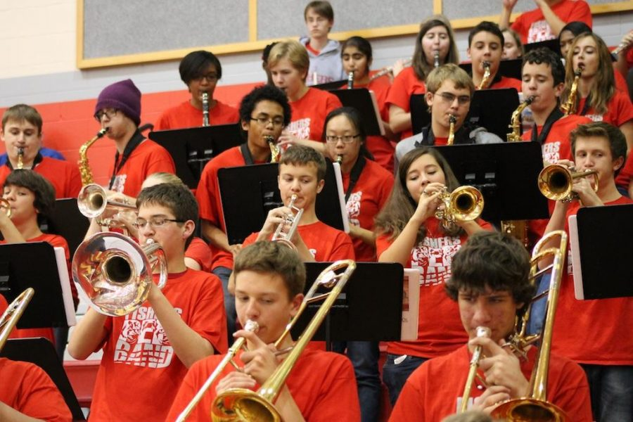 Pep Band plays with spirit, to support basketball team