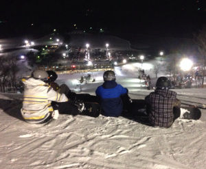Members of ski and snowboard club looking out over the resort. -Photo submitted by Micheal White