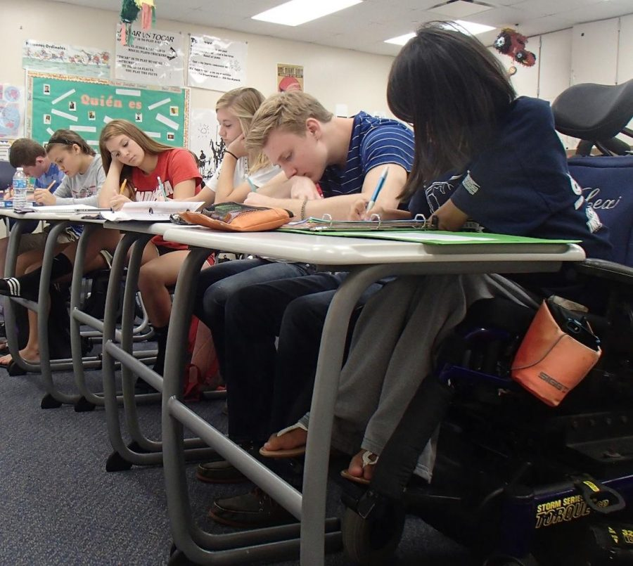 Students work on assignments in class. -Photo taken by Emily Endicott