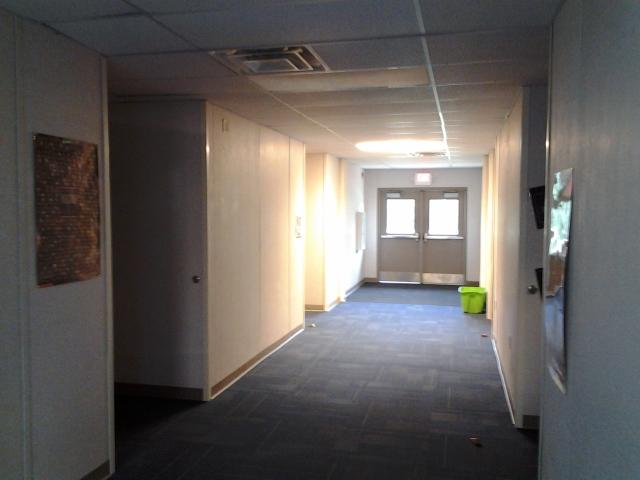 A view of the hallway connecting all four of the new portables.