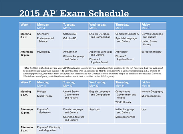 Advanced Placement testing schedule released