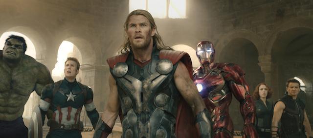 Hulk (Mark Ruffalo), Captain America (Chris Evans), Thor (Chris Hemsworth), Iron Man (Robert Downey Jr.), Black Widow (Scarlett Johansson), and Hawkeye (Jeremy Renner) in Avengers: Age of Ultron. (Photo courtesy Marvel/TNS)