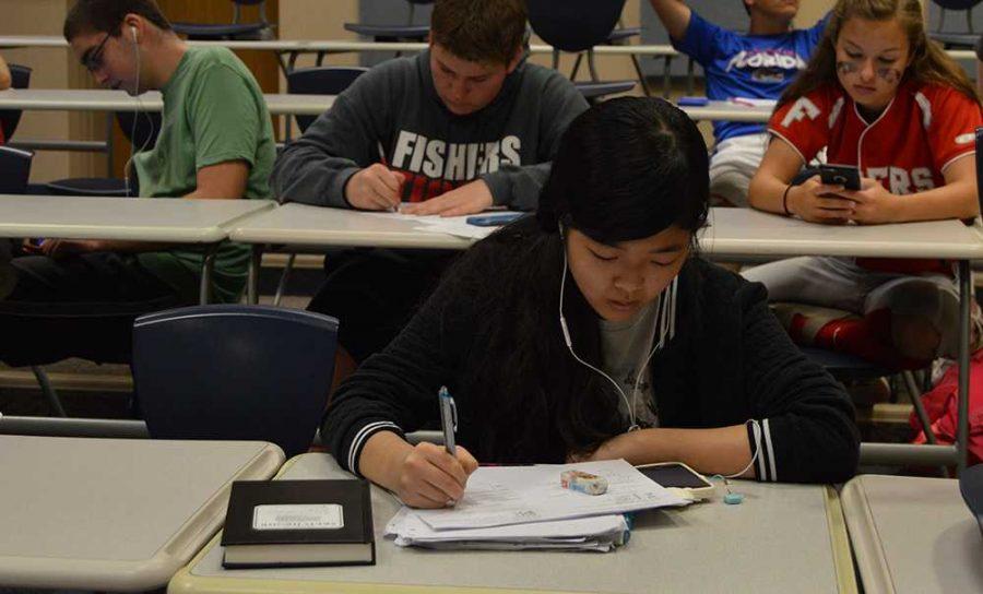 Sophomore Hana Sugasawa studies on May 19.