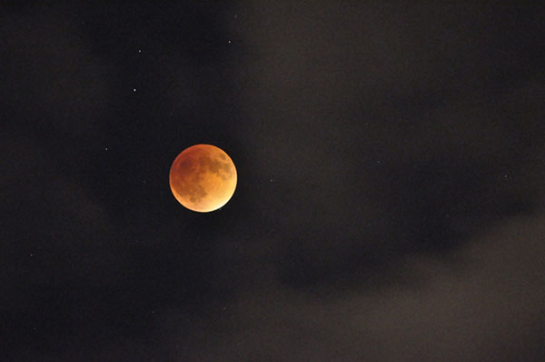 Students in science teacher Marcy Clones astronomy class took pictures of the blood moon.  Photo courtesy of Jenna Foley.