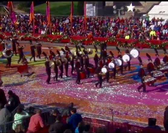The Fishers Tiger Marching Band performs at the Philadelphia Thanksgiving Day Parade.