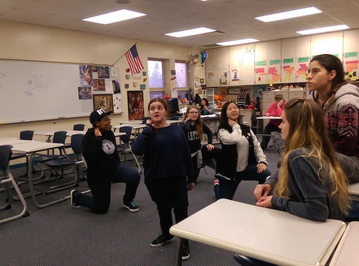 K-Pop club members mimic the dance to their favorite Korean songs after school in A101 on Jan. 26.