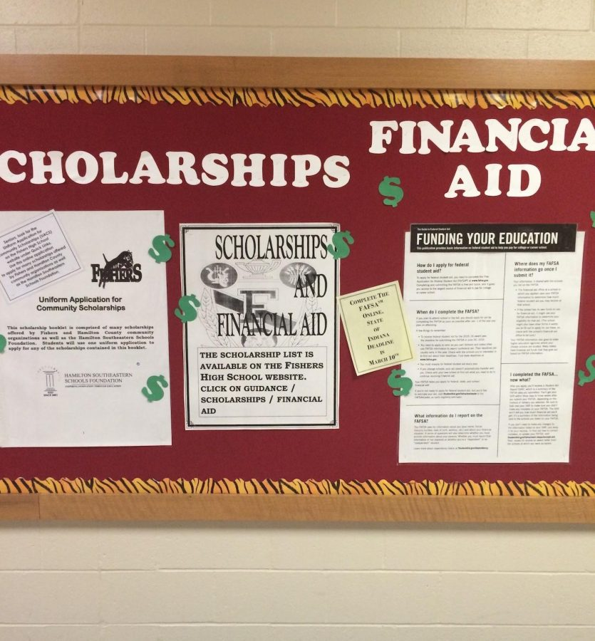 Informational board located right outside of the guidance office. Photo credit Chloe Mayfield