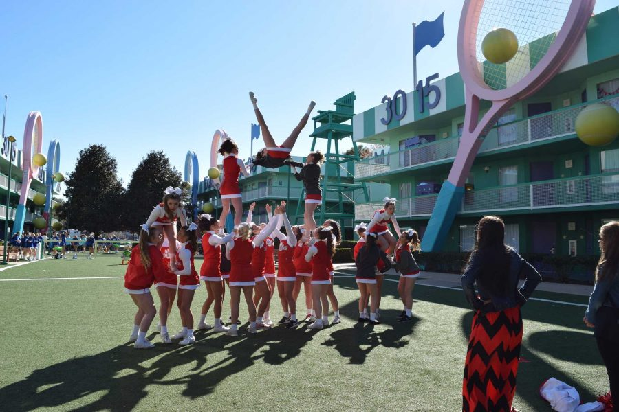 FHS varsity cheer team performs at nationals in Orlando Feb. 13-14. Photo by Jenna Knutson.