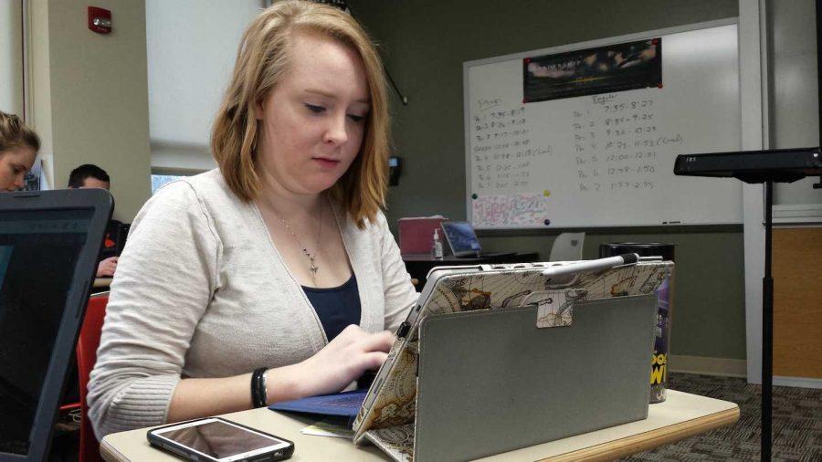 Senior Mac Van Tassel utilizes her Microsoft Surface to better organize academic assignments. Photo taken by Sierra Solis