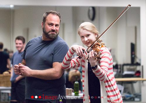 Tobin Strader as Tevye and Fiddler, Erin Jeffrey rehearse alongside each other for Booth Tarkington Civic Theatres performance of Fiddler on the Roof. Photo taken by Imagine Avenue Photography and used with permission of Booth Tarkington Civic Theatre.