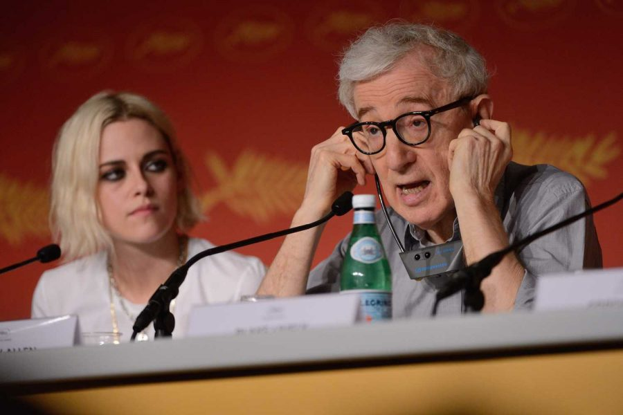 Director Woody Allen and actress Kristen Stewart sit together at press conference and talk about the movie premiere at Cannes Film Festival on May 11.  Photo courtesy of Tribune News Service.