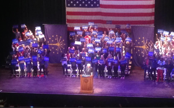 Bernie Sanders speaks at his rally on Wed. April 27. at Indiana University. Photo by Reily Sanderson.