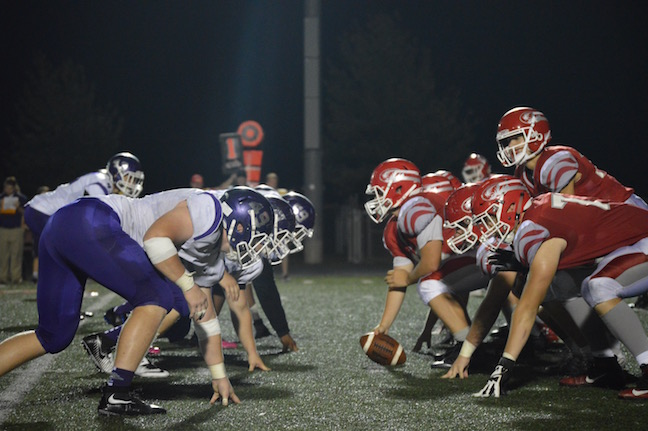Fishers and Brownsburg face off on the line of scrimmage at FHS on Sept. 16 2016. Photo by Taylor Wagner.