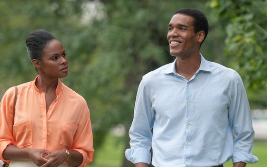 Tika Sumpter and Parker Sawyers playing Michelle Robinson and Barack Obama on their first date. Photo courtesy of MCT Campus.