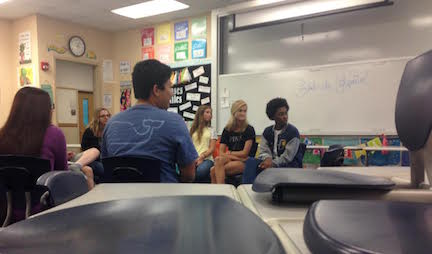 The Student Leadership team listens to Señora Gutting Aug, 31 as they begin their first planning meeting of the school year. Photo by Helen Rummel.