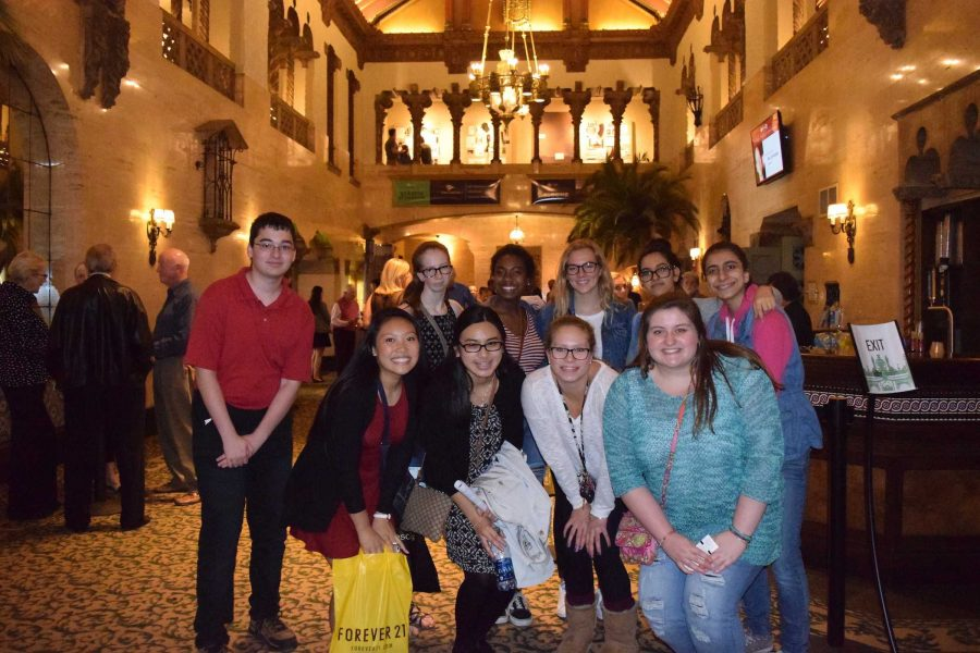 Students from French Club before the play at the Indianapolis Repertory theater on Oct. 8. Photo by Carolina Puga Mendoza