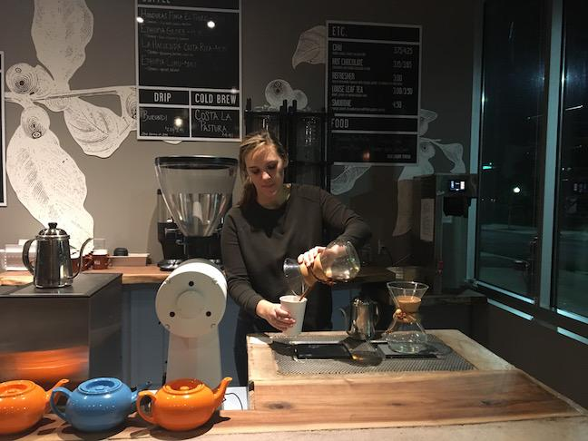 A barista prepares coffee for customers at The Well on October 14. Photo by Haley Thomas