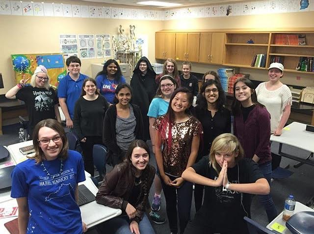 The original members of the Harry Potter Club stage one of their first meetings in 2016. The club has survived since then, but with FHSs inaugural Yule Ball, it plans to bring in a new wave of members.