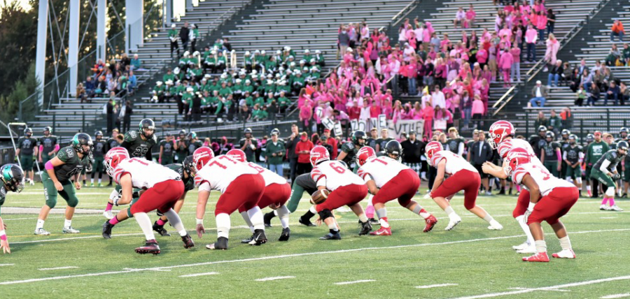Tigers offense get ready for play against Zionsville Eagles on Oct. 14. Fishers lose 20-19. Photo used with permission of Fishers Athletics.