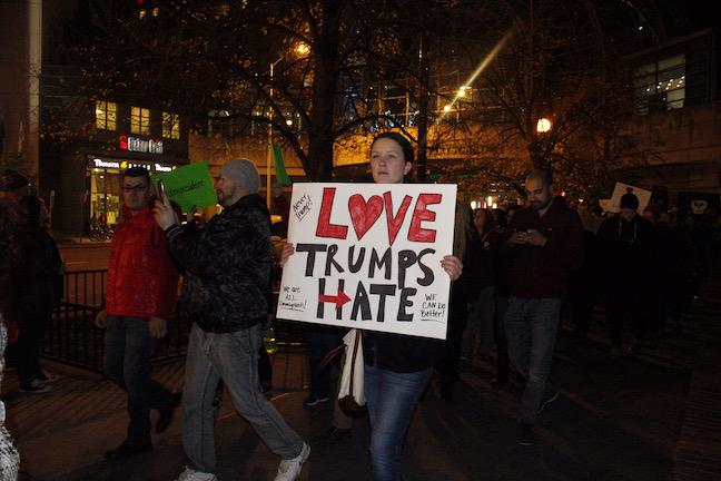 Protesters walk down Indianapolis on Sat. Nov. 12 during the anti-Trump protest. Photo by Reily Sanderson.