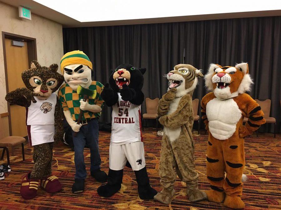 Mascots who participated in the JEA convention on Nov. 10 with Carolina Puga Mendoza representing Fishers High School. Photo by Kristine Brown