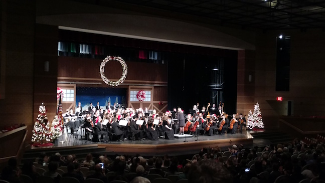 The Philharmonic Orchestra playing their last melody on the stage decorated with Winter ornaments on Dec.7th. Photo taken by Seana Jordan.