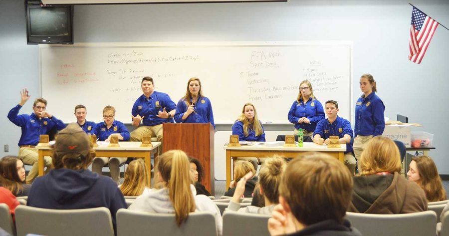 The FFA leaders and members meet on January 11. The chapter meets at 6 p.m. on the second Tuesday of every month at HSE in the lecture hall. Photo by Alaina Gabbard.