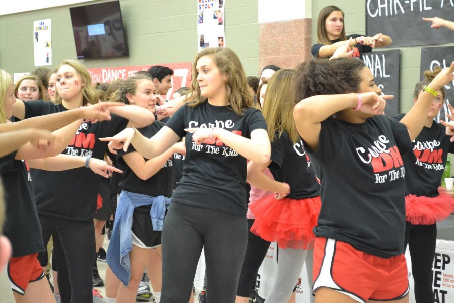 Students dance at last years Riley Dance Marathon in the CCA on Feb. 28, 2016. photo used with permission of FHS TigerTracks yearbook.