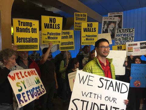 Protestors against the travel ban gather at the Tom Bradley International Terminal at LAX in Los Angeles on Saturday, Feb. 4, 2017. Photo used with permission of Tribune New Services.