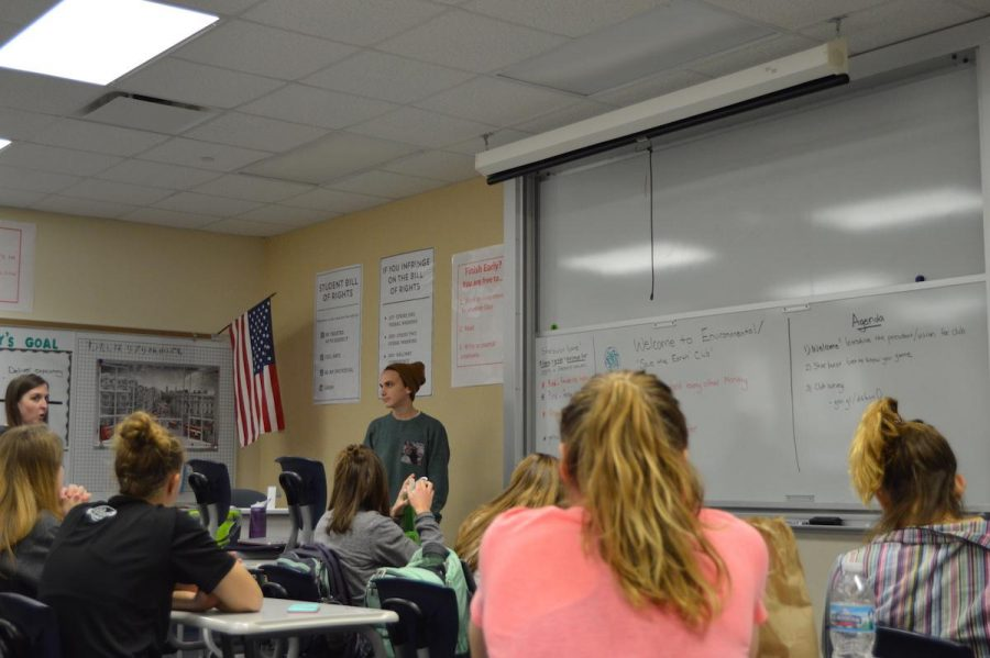 Sophomore Ashdan Trexler talks to the club about future meetings.  Photo by Hallie Gallinat