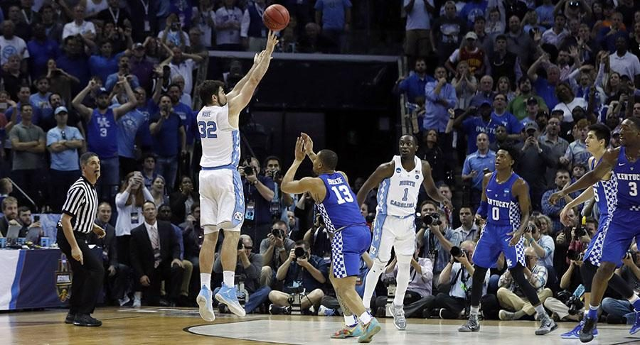 North Carolinas Luke Maye shoots the game winning shot against Kentucky in the Elite Eight games on Sunday, March 26. North Carolina wins 75-73. Photo used with permission of Tribune News Service.