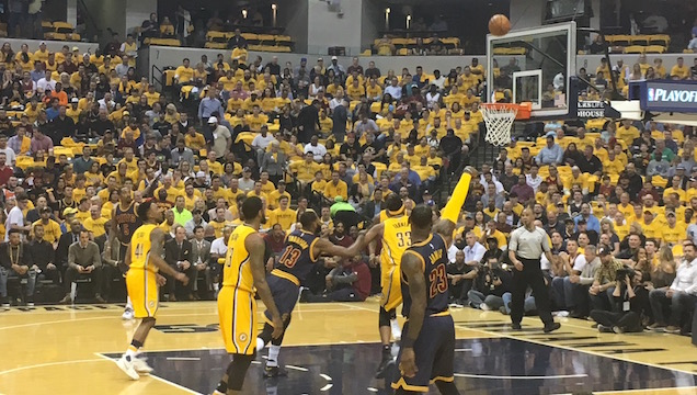 Cavaliers small forward Lebron James shoots the basketball from behind the arc at Bankers Life Fieldhouse in game 3 of the first round of the NBA Playoffs on April 20. The Cavaliers beat the Pacers 119-114. Photo used with permission of Brian Randol.