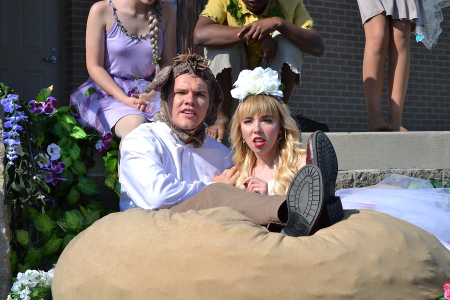 Juniors Brayton Wilds and Allison Marshall play Nick Bottom and Titania and engage in a spell induced romance on May 13 at the Nickel Plate Amphitheater.