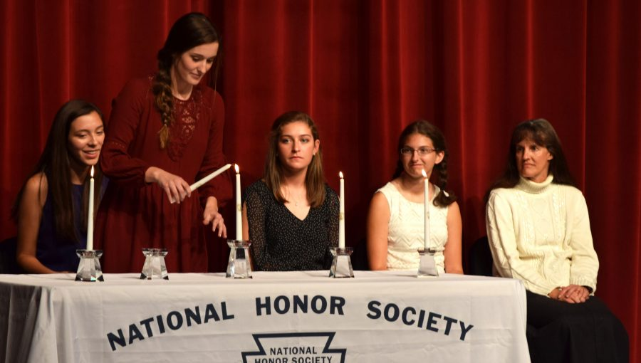NHS members at their  celebrate their success at their induction ceremony earlier this year. Photo by Sarah Peterson