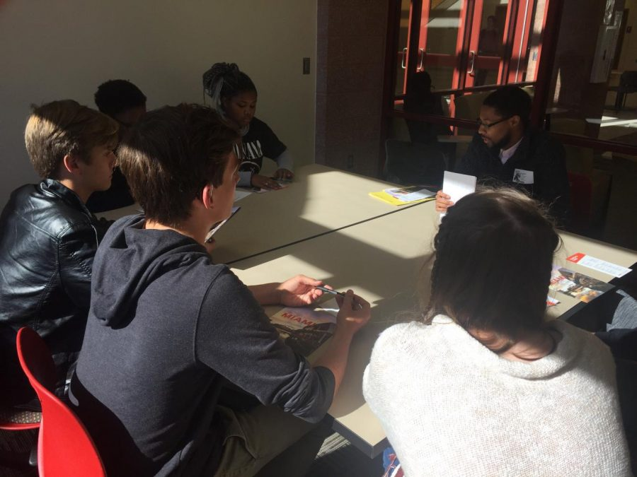 Local students attend a college representative meeting for University of Miami in the CCA commons. Picture by Ethan Everett on October 26.