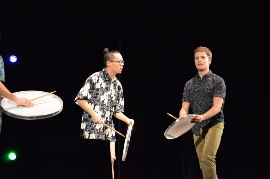 Senior Nicholas Mark and Junior Gabriel Glover perform a percussion piece in last years Wintertainment. Photo by Megan Jessup.