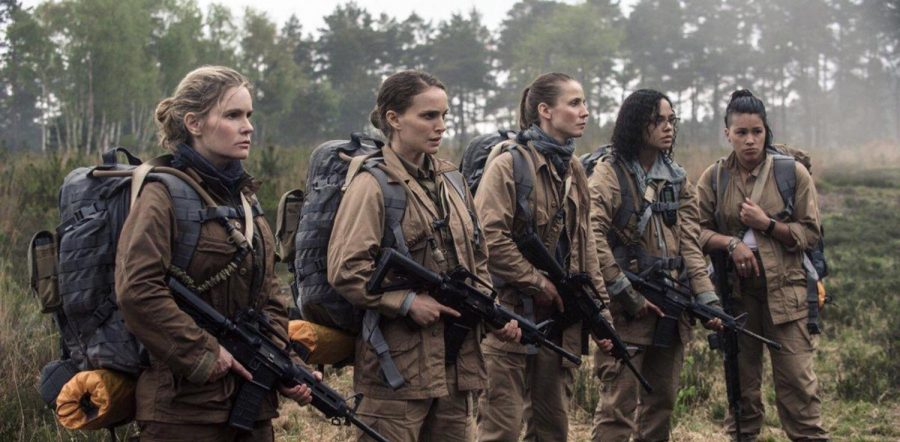 Annihilation makes a strong feminist statement with its all-female lead cast. Jennifer Jason Leigh as Dr. Ventress, Natalie Portman as Lena, Tuva Novotny as Cass Shepherd, Tessa Thompson as Josie Radek, and Gina Rodriguez. Photo used with permission of Tribune News Service.