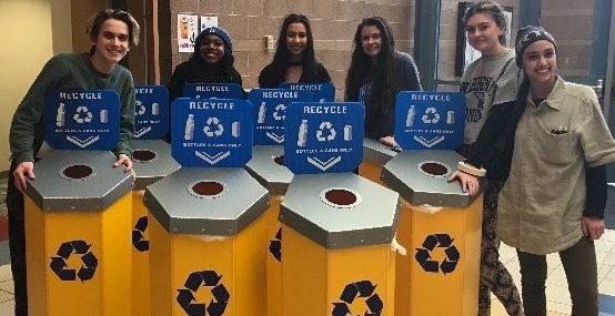 Juniors Ashdan Trexler, Payton Bullock, Rachel Guest, Hilary Johnson, Phoebe Johnson and senior Christina Ling hope to improve recycling at Fishers with new yellow bins. Photo used with permission of Ashdan Trexler.