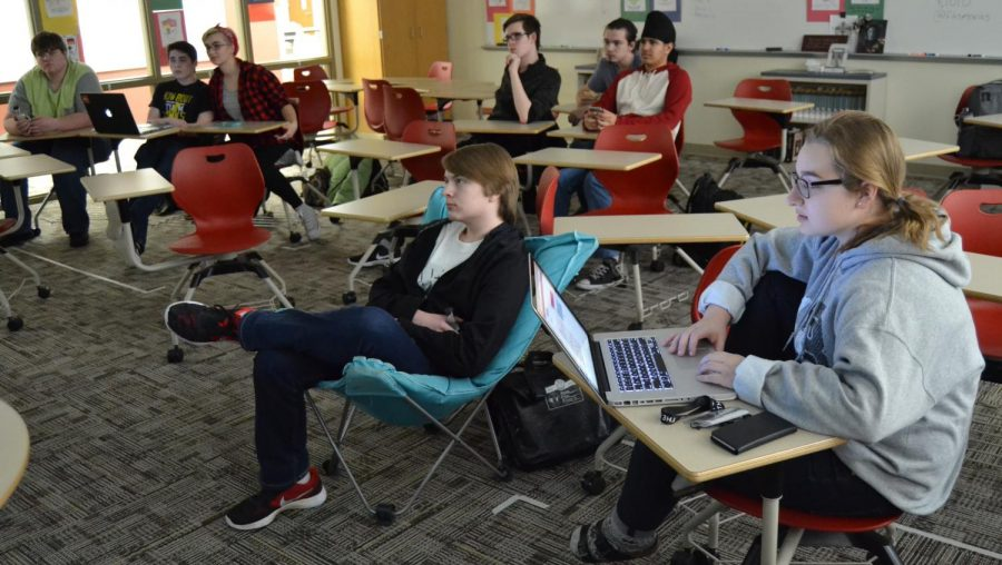 Films air after school in sponsor Glenn Selands room for a few hours after school. Photo by James Fortozo on Feb. 6.