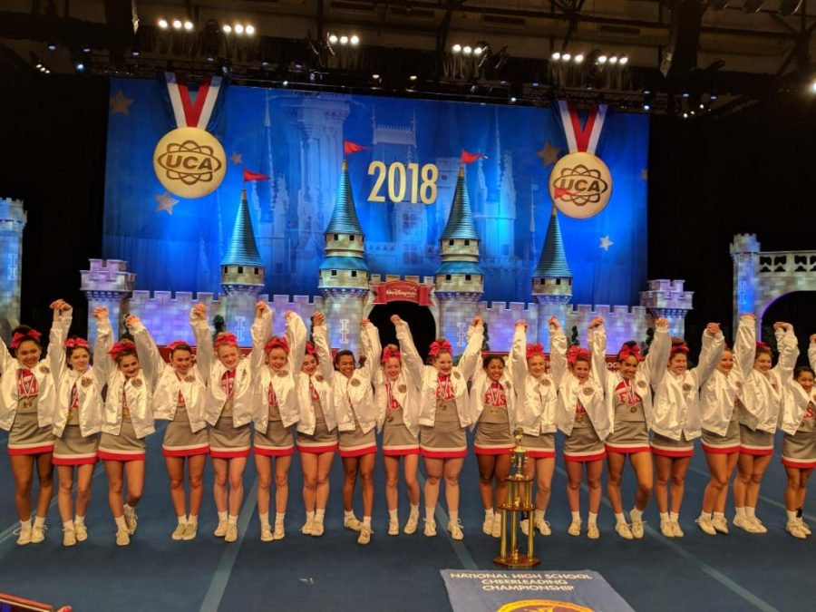 Fishers varsity cheer celebrates first place victory at the 2018 UCA Nationals on Feb. 11. Photo used with permission of Elizabeth Maahs.