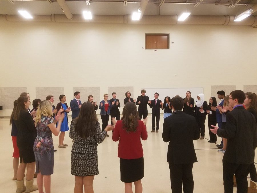 The state competitors of the speech team rally around in preparation for their competition at FHS on March 10. Photo used with permission of Maddie Butler.