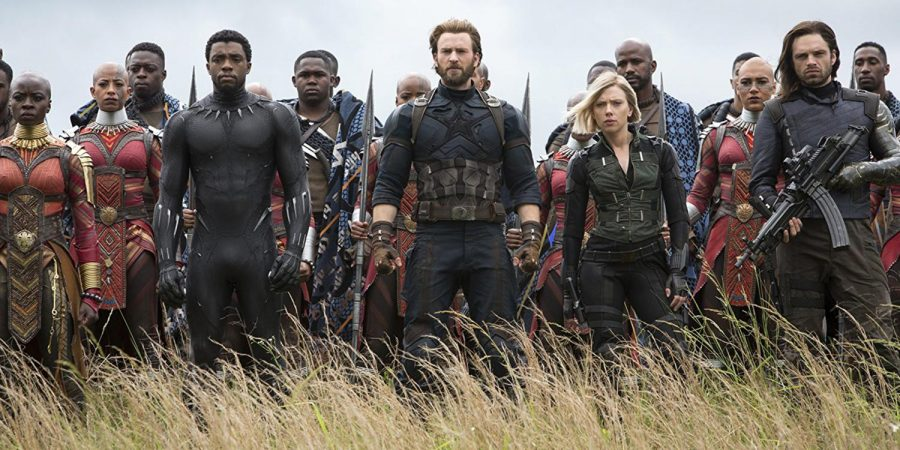 Avengers Black Panther (Chadwick Boseman), Captain America (Chris Evans), Black Widow (Scarlett Johansson), and Bucky (Sebastian Stan) line up to fight the war against Thanos. Photo used with permission of MCT Campus.