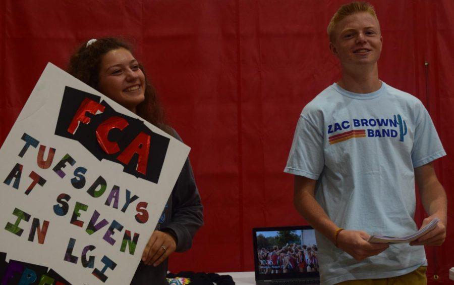 Seniors Maddie Wellington and Thomas Brelage representing FCA. Photo taken by Nya Thornton.