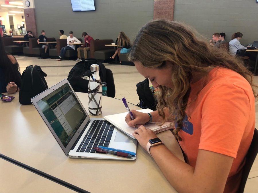 Senior Brooke Lambert uses Naviance during her flex period on Aug. 28 to keep track of colleges she needs to request transcripts for.