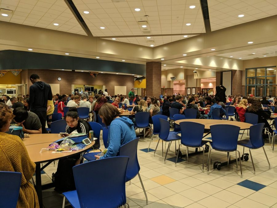 Students eat lunch in the FHS cafeteria, where the first redistricting meeting was held on Oct. 24. The second one will take place at HSE.
