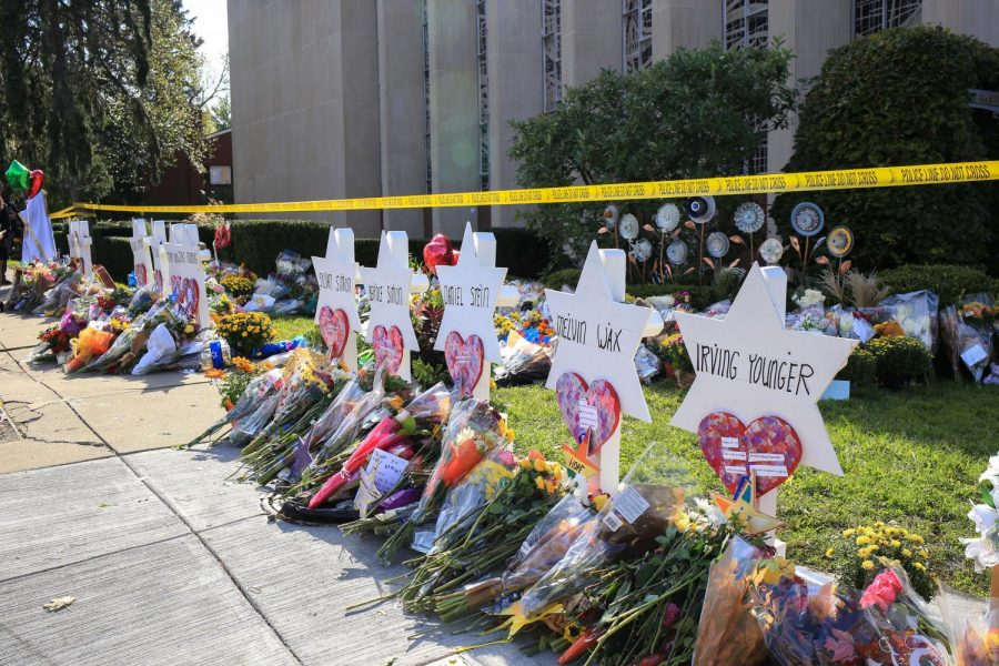 Star of David memorials surround The Tree of Life synagogue  in Pittsburgh following the killing of 11 worshipers on Oct. 27.