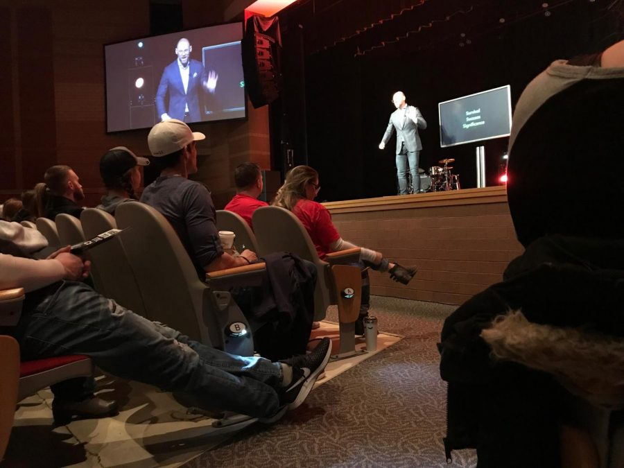 Pastor Dave Sumrall preaches on Jan. 27th in the auditorium of Fishers High School. His sermons are broadcast live amongst all the various campuses that ITOWN has.