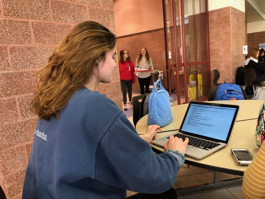 Sophomore Anna Schnefke looks over the student handbook at lunch to see if there are any changes that she would like to suggest.