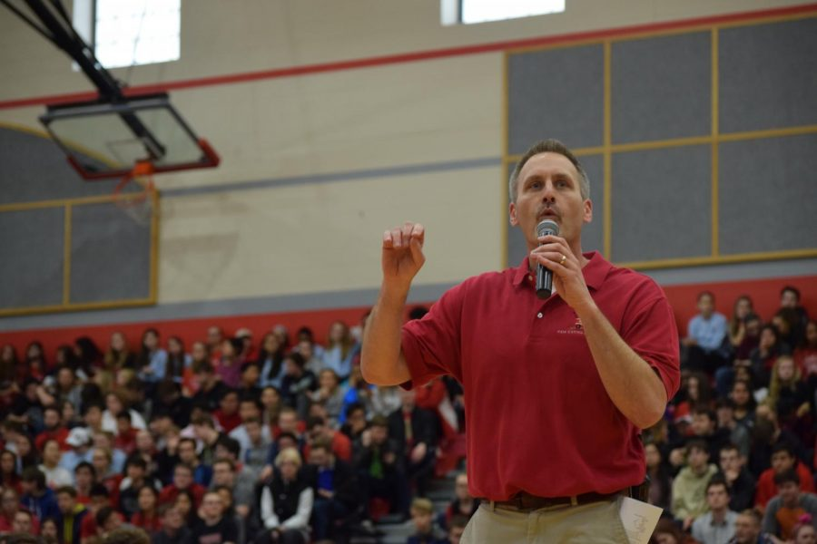 Principal Jason Urban addresses the student body during the student choice day pep rally on March 18, 2018.
