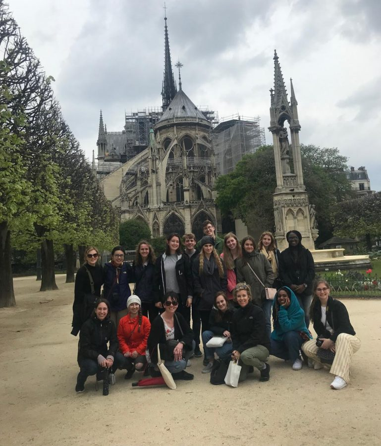 Students pose outside the Notre Dame during the France trip over spring break on Apr. 2, 2019.